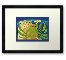 Three Cats, Two Flowers, One Snail and A Ladybug Framed Print