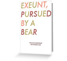 Exeunt Pursued By A Bear - Shakespeare Greeting Card