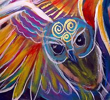 Rainbow Owl by Sheridon Rayment by BlueMoonOwl