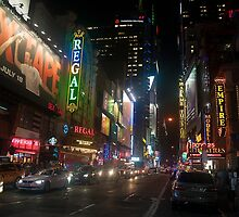 42nd Street Times Square At Night by Gary Chapple