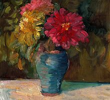Zinnias in September by Sally  Rosenbaum