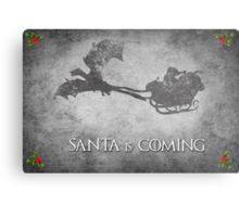 Game of Thrones Christmas Card: Santa is Coming (with Dragons) Metal Print