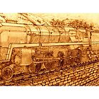 Sepia Version of The Last of the British Rail Steam Locomotives - mug by Dennis Melling