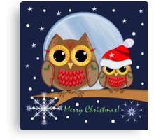 Cute Christmas Owls & Merry Christmas text Canvas Print