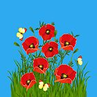 Poppies and Butterflies by Irina Chuckowree