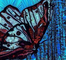 Mosaic Butterfly Blue by Saundra Myles