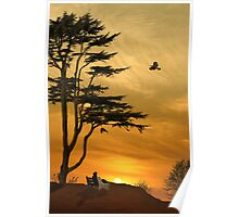Girl On A Bench At Sunset Poster