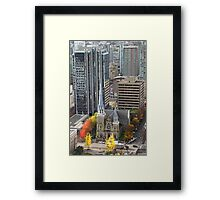 Downtown Skyscrapers and Cathedral from Harbour Tower, Vancouver City, Canada Framed Print