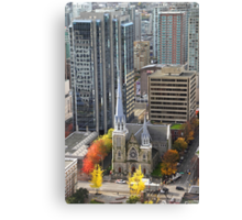 Downtown Skyscrapers and Cathedral from Harbour Tower, Vancouver City, Canada Canvas Print