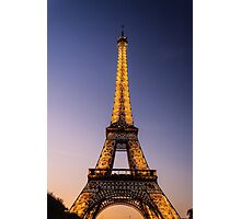 Eiffel Tower and sunset (2) Photographic Print