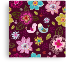 Seamless texture with flowers and birds. Canvas Print