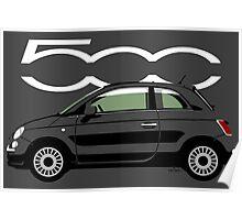 New Fiat 500 black Poster