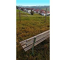 Bench with a village view | landscape photography Photographic Print