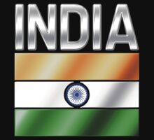 India - Indian Flag & Text - Metallic by graphix