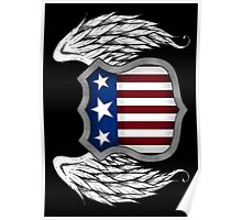 Winged American Crest (Black) Poster