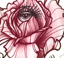 all seeing rose, eye in flower tattoo shirt Sticker