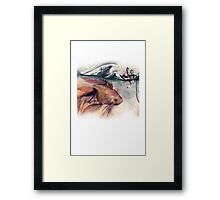 Navigating The Ocean - Boy, Goldfish & Up-turned Umbrella Framed Print