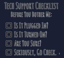 Tech Support Checklist Kids Clothes