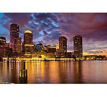 Sun dusk over Boston Harbor  Photographic Print