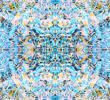 """Psychedelic Symmetrical Abstraction """"Fantazy of Gaia"""" in rose, purple, cyan, blue, white and yellow by FireFairy"""