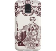 lady drinks tea Samsung Galaxy Case/Skin