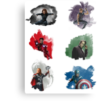The Avengers + Watercolours Metal Print