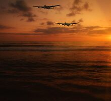 Sunset Lancaster Bombers by UKGh0sT