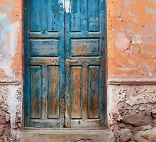 Blue door against Orange by lenscraft