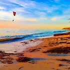 Windsurfing at dusk by indiafrank