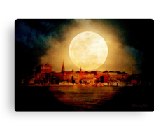 Fire Moon over New London-on-Thames Canvas Print