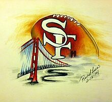 San Francisco Football in Fog by artbyrachelluca
