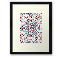 Pastel Blue, Pink & Red Watercolor Floral Pattern on Cream Framed Print