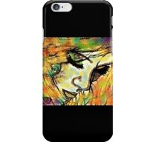 Mysterious Girl Looking Down (Coloured) iPhone Case/Skin