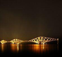 Forth Bridge (Firth of Forth Railway Bridge) and Stars by Maria Gaellman