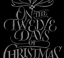 Chalkboard Lettering '12 Days of Christmas' Elegant Modern Chalk Carol by 26-Characters