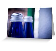 Gray stopper bottle of sparkling water blue glass Greeting Card