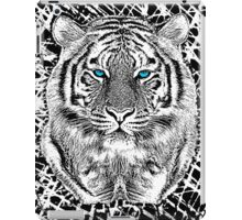 Tiger Portrait Black and White in Graphic Etching Style iPad Case/Skin