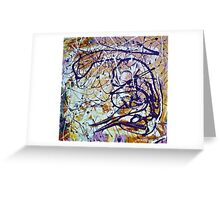 Abstract Painting, Brush & Poured Greeting Card
