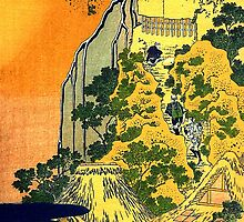 'Waterfalls in All Provinces' by Katsushika Hokusai (Reproduction) by Roz Abellera Art