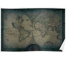 Old Map Of The World Grunge blueprint Poster
