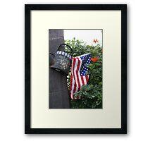 Patriotic Welcome; Wat Garden, La Mirada, CA USA (*challenge note 1;Vertical Lines on Can/Vertical Angle of lines of Flag; Challenge note 2; Commerative 911 Dedication 911 Read Description))  Framed Print