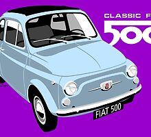 Classic Fiat 500 light blue by car2oonz