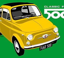 Classic Fiat 500 yellow by car2oonz