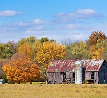 Old Barn with Silo in Autumn by Kenneth Keifer
