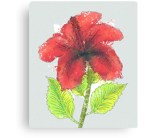 Watercolor red hibiscus 2 Canvas Print