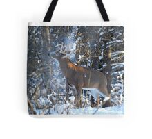 Snow Shower - White-tailed deer Buck Tote Bag