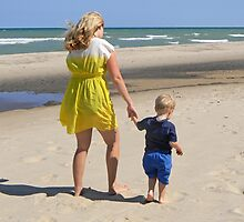 Mother and Son at the Beach by Kathleen Brant