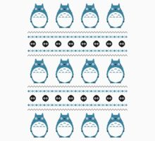 Totoro Winter Pattern - Blue by Chloe Morris