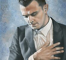 """Illuminated"", oil painting of Theo Hutchcraft, HURTS band by Mariana Po"