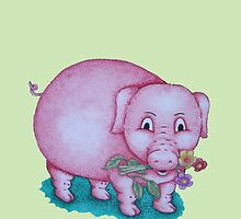 Cute piggy with  flowers illustration by pollywolly